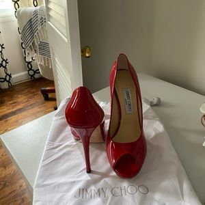 Jimmy Choo red patent leather peep toes- 38 1/2